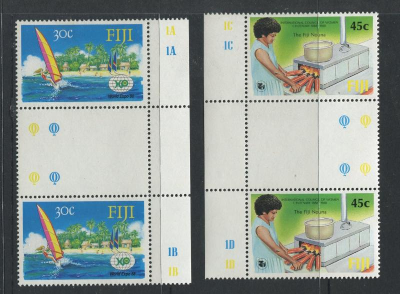 Fiji - Scott 583, 584 - General Issue -1988 - MNH - Gutter Pairs X 2