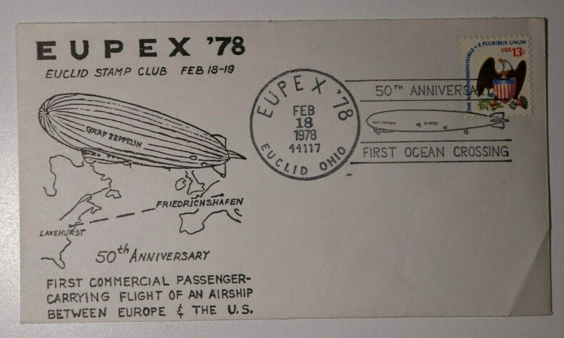 EUPEX 50th Anniv Graf Zeppelin Europe Pan American Flight Philatelic Expo Cover