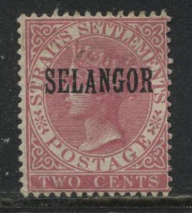 1886 Selangor overprinted on Straits Settlements 2 cents rose mint o.g.