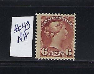 CANADA SCOTT #43 1888-97 SMALL QUEEN 6 CENT (ROSE RED) MINT NEVER HINGED