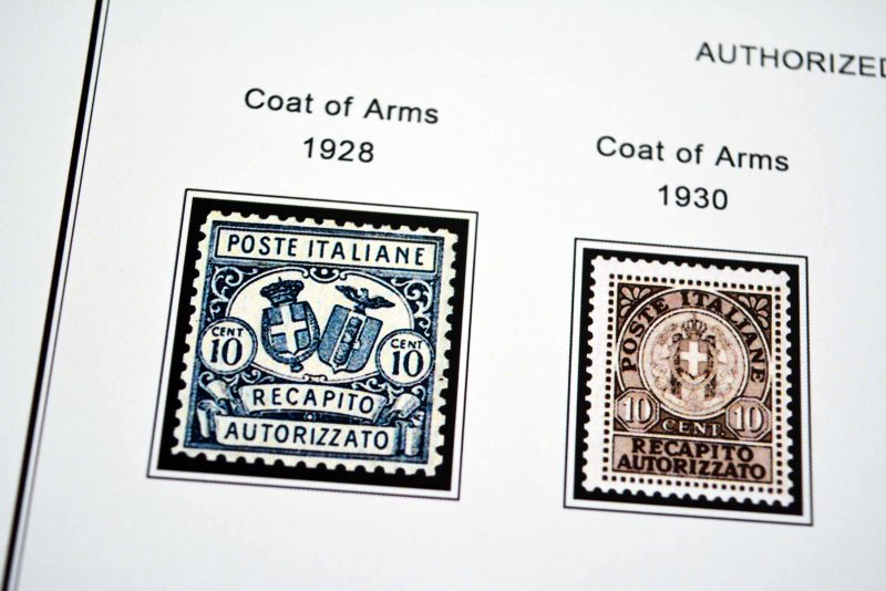 COLOR PRINTED ITALY AIRMAIL + B.O.B. 1875-1984 STAMP ALBUM PAGES (44 ill. pages)