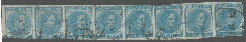CSA Scott #7 Strip of 8 Used Confederate Stamps Richmond, VA March 23