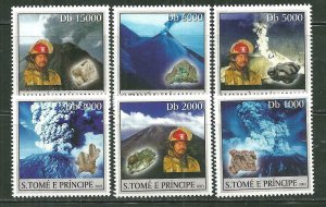 St. Thomas & Prince Islands MNH 1470A-F Volcanoes Minerals Firefighters SCV 9.00