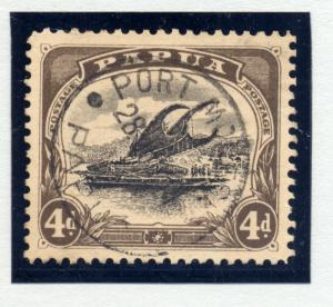 Papua, 1907-10, SG 63a small papua, 4d var deformed d FU