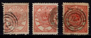 Denmark 1864-70 Coat of Arms Definitives, 4sk colour variations [Used]
