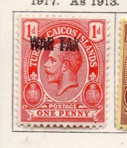 Turks Caicos 1917 Early Issue Fine Mint Hinged 1d. Optd 269542