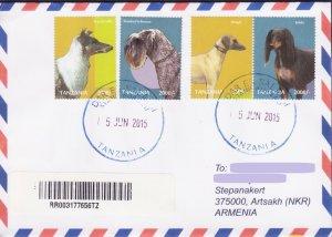RARE TANZANIA DOG DOGS REGISTERED COVER TO NAGORNO KARABAKH ARMENIA R15569