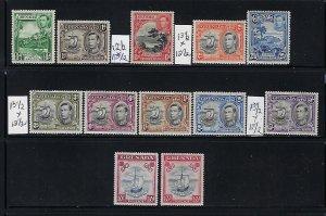 GRENADA SCOTT #132-142 1938 -GEORGE VI (MIXED PERFORATIONS)  MINT LIGHT HINGED