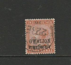 India Gwalior 1885/97 Opts 3As Used SG 25