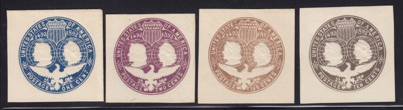 U348 - U351 Set VF unused Cut squares with deep color cv $ 50 ! see pic !
