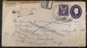 1957 Peoria IL USA Opened In Error Airmail Cover To New York USA Victory Stamp