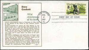 US FDC  #1330 #M56 Von Ohlen Cachet San Antonio, TX Davy Crockett