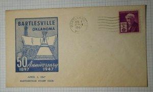50th Anniv Bartesville Stamp Club OK Philatelic Convention Cachet Cover 1947