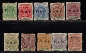 $Transvaal Sc#202-210 M/H/VF, part set, Cv. $34.70