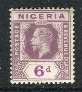 NIGERIA; 1912 early GV Crown CA issue fine Mint hinged Shade of 6d. value