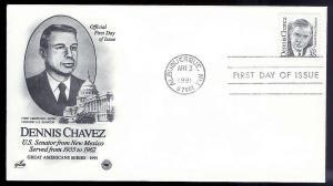 UNITED STATES FDC 35¢ Dennis Chavez 1991 Postal Society