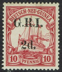 GRI NEW GUINEA 1914 YACHT 2D ON 10PF 5MM SPACING