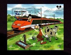 GAMBIA - 1987 - DISNEY - MICKEY - DONALD - TRAIN - GRAND VITESSE - MINT S/SHEET!