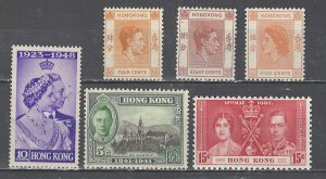 COLLECTION LOT # 2538 HONG KONG 6 MH STAMPS 1937+ CV=$20