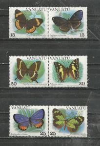 Vanuatu Scott catalogue # 346-348 Butterflies Mint NH