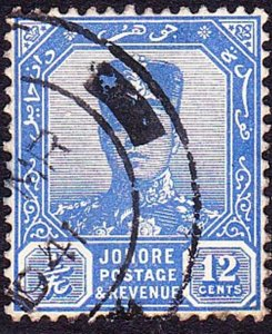 MALAYA JOHORE 1940 12c Ultramarine SG114 Used