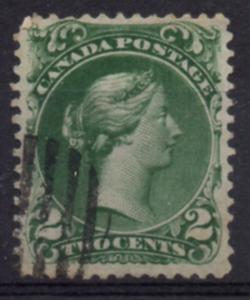 Canada Sc 24 1868 2c green  large Queen Victoria stamp used