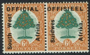 SOUTH WEST AFRICA 1927 OFFICIAL ORANGE TREE 6D PAIR