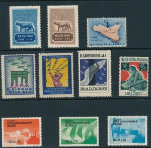 Stamp Label Italy Expo Aviation Red Cross WWII Sicily Roma Milan Selection MNH