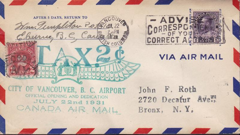 Canada 1931 Dedication Of The Vancouver B.C. Airport. Nice Admiral Use 2c Due