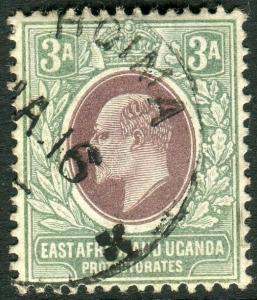 EAST AFRICA & UGANDA-1903-4 3a Brown Purple & Green.  A fine used example Sg 5
