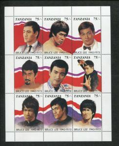 Tanzania Commemorative Souvenir Stamp Sheet - Martial Artist Legend Bruce Lee