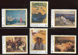GREECE Scott 1237-1242 MNH** 1977 Art set great paintings