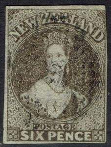 NEW ZEALAND 1862 QV CHALON 6D WMK LARGE STAR IMPERF USED