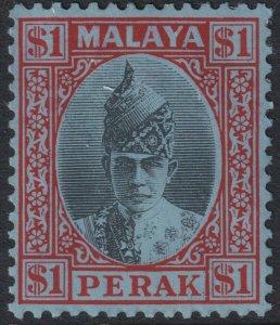 Sc# 96 Malaya Perak $1.00 Sultan Iskandar 1938 - 1941 MMHH CV: $75.00