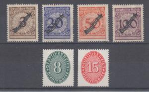 Germany Sc O47//O73 MNH. 1923-27 Officials 6 different singles with small faults