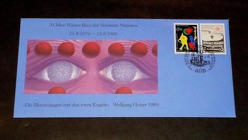 U.N.1989, VIENNA #93-94,10th ANNIV. OFFICE IN VIENNA SINGLES ON FDC, NICE! LQQK!