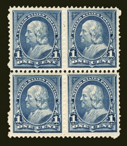 #247 1c Blue 1894 VF-XF Mint Hinged Block of 4, Choice Centering
