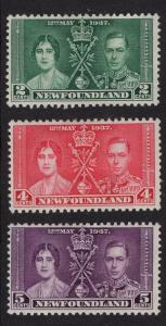 Newfoundland  #230-232   MH   1937   Coronation issue