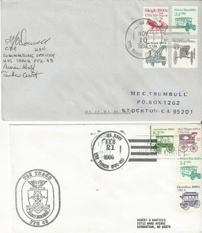 US Naval Cover USS Thach  FFG 43  1986, 1987 CO Autograph