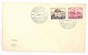 ICELAND First Day Cover Reykjavik FDC SHIPS 1954 {samwells-covers}BF187