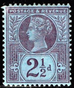 UK STAMP GREAT BRITAIN  Queen VICTORIA USED STAMP 2 1/2P MH/OG