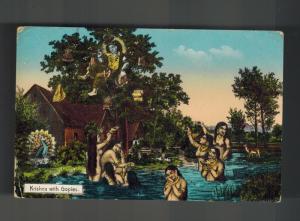 1925 Rangoon Burma Picture Postcard Cover to London England Krishna with Gopies