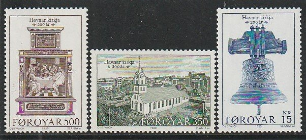 1989 Faroe Islands - Sc 186-8 - MNH VF - 3 single - Havnar Church