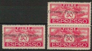ITALIA OCCUPAZIONI: FIUME Governo provisorio  - Sass ESPRESSI # 6p coppia + 1 **