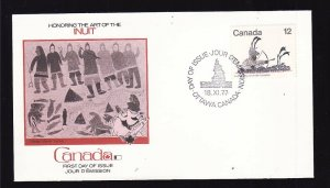 Canada-Sc#750-stamps on Fleetwood FDC-Inuit Hunting-1977-