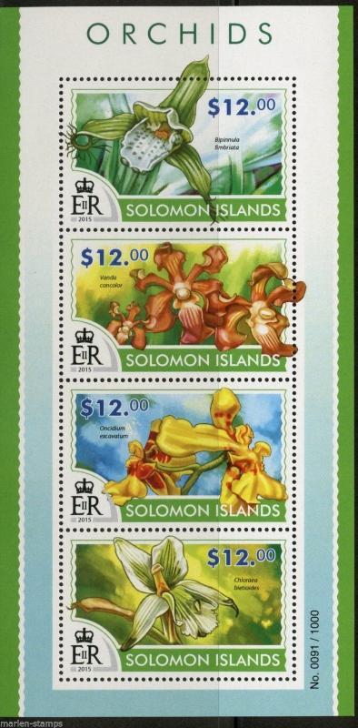 SOLOMON ISLANDS 2015 ORCHIDS  SHEET   MINT NH