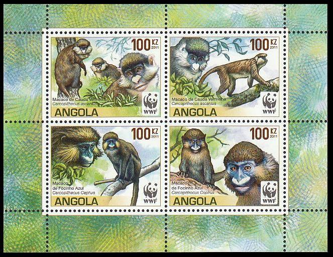Angola WWF Monkeys Guenons block of 4