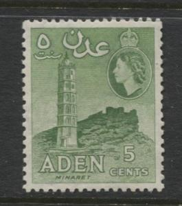 ADEN - Scott 48a - QEII Definitive-Perf.12 x 12 - 1953- MLH - Single 5c Stamp