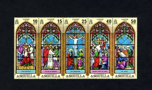 ANGUILLA - 1972 - EASTER - CRUCIFIXION - STAINED GLASS - MINT - MNH - SET OF 5!