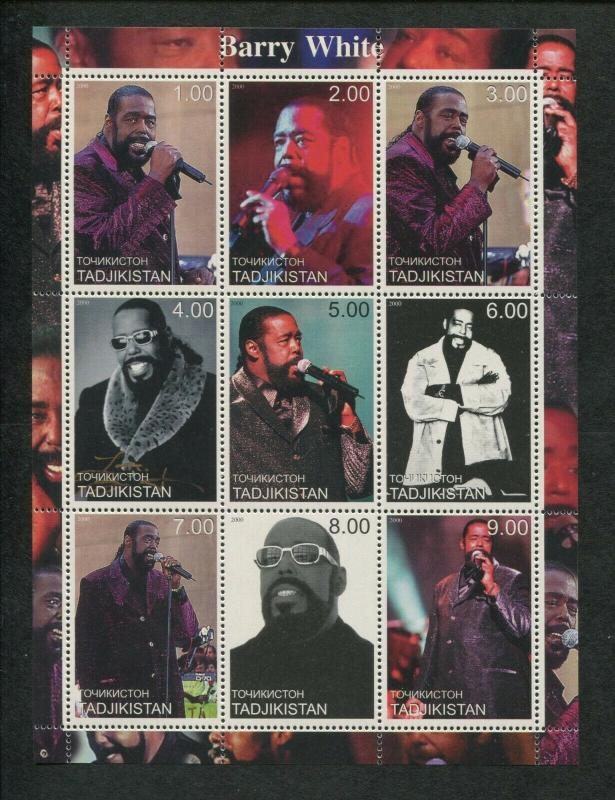 Tajikistan Commemorative Souvenir Stamp Sheet - Barry White